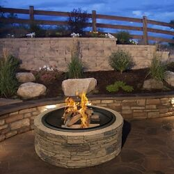 Stone Fire Pit Kit Faux Wood Burning Outdoor Backyard Round Patio Heater 35 In