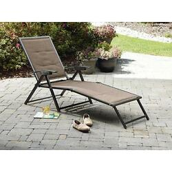 Folding Padded Sling Chaise Chair Outdoor Yard Pool Beach Camping