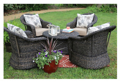 Patio Deep Seating Furniture Outdoor Conversation Sets 5 PC Swivel Chairs Wicker