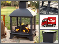 Outdoor Wood Burning Fireplace With Chiminea Portable Patio Steel Fire Pit NEW