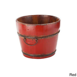 Wooden Buckets Rustic Decor Vintage Country Log Home Cabin Red