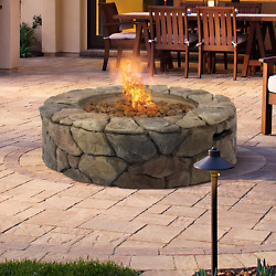Gas Stone Fire Pit Outdoor Patio Heater Garden Yard Rustic Lava Rocks Camp Deck