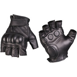 Mil Tec Tactical Fingerless Leather Gloves Military Mens Security Mittens Black $33.95