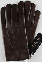 NWT LABONIA GLOVES lamb leather cashmere brown luxury handmade Italy L