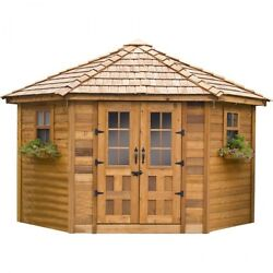 Woman Cave She Shed Outdoor Wood Garden Cabana 9 Ft W x 9 Ft D Insect Resistant
