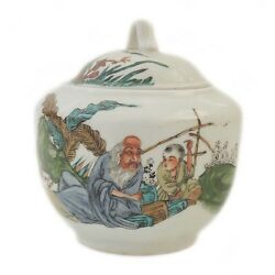 Antique Chinese Hand Painted Famille Rose Porcelain lidded Jar Figures Marked