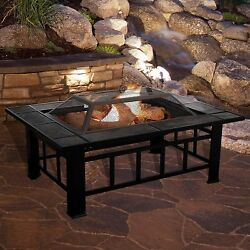 Fire Pit Tools Table Accessories Outdoor Tile Black Portable Patio Rectangular