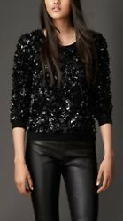 NWT BURBERRY $2095 WOMENS  WOOL CASHMERE CRUSHED SEQUIN  SWEATER SZ SMALL