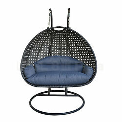 2 Person Garden Swing Hanging Wicker Chair Egg Shape Patio Furniture Charcoal