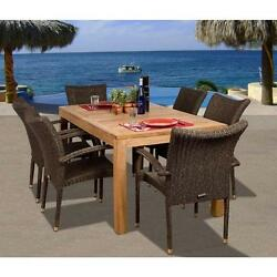 Wicker Patio Dining Set 7 Pc. Teak All Weather Deck Armchair Wood Table Outdoor