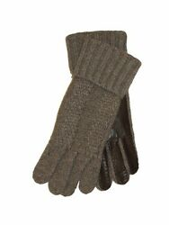 BRIONI Mens Cashmere Leather Combo Knit Gloves Gray Italy Winter Glove Sz M New