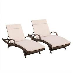 Haage Set of 2 Outdoor Wicker Armed Chaise Lounge with Cushion - Brown
