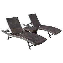 Kauai 3pc Wicker Chaise Lounge Set - Brown - Christopher Knight Home