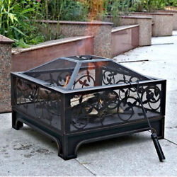 Fire Pit Outdoor Wood Burning Backyard Patio Deck Warming Camping Barbecue New