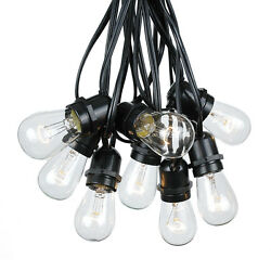 Outdoor String Lights - Set of 50 LED S14 Edison Bulbs 100 Foot Globe Lamp Clear
