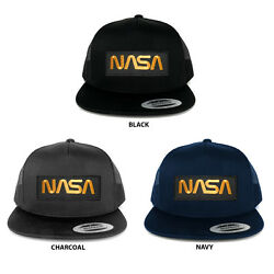 FLEXFIT 5 Panel NASA Worm Gold Text Embroidered Patch Snapback Mesh Trucker Cap $19.99