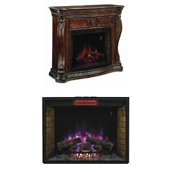 Electric Fireplace Insert Heater Media Center Mantels Wood Classic Swans Neck