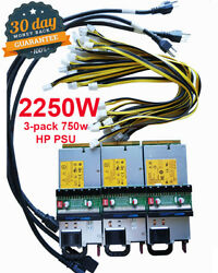 Total 2250W Power Supply PSU Customized Kit 6pin for Antminer S7 S9 D3 L3 A741 $199.00