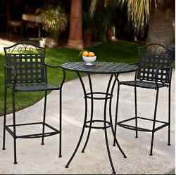 Bistro Table And Chairs Wrought Iron Patio Furniture Dining Set Bar Height Round