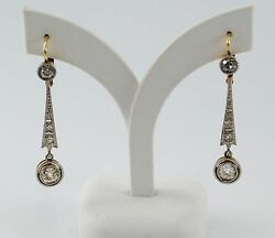 ANTIQUE STYLE EARRINGS 18K GOLD AND DIAMONDS 156 CT APPROXIMATELY