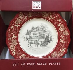 222 Fifth Andover Side Plates Set Of 4 Red Log Cabin Christmas Winter Snow