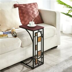 C Shaped Small Narrow End Side Chair Side Table Slim Snack Accent Tables Laptop $26.99