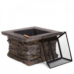 Fire Pits On Sale Square Outdoor Shield Lid Wood Burning Patio Deck Furniture