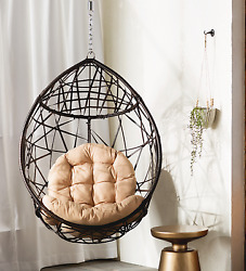 Hammock Chair Stand Tear Drop PVC Swing Seat Design Home Outdoor Decor Brown New