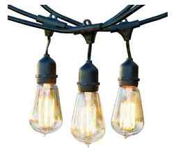 Outdoor String Lights for Patio Black 48 Feet Vintage Edison Bulbs Commercial