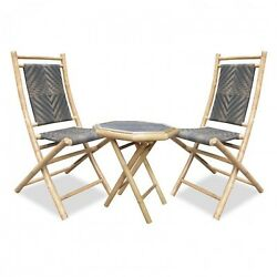 3 Piece Bistro Set Outdoor Patio Garden Folding Table 2 Chairs Bamboo Furniture