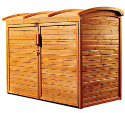 Storage Shed Wooden Home Patio Garden Organizer Curved Lid  Design 5'Wx3'D New
