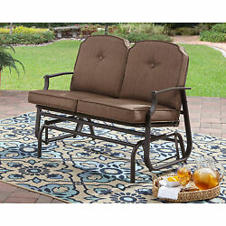 Modern Outdoor Bench Wrought Iron Patio Furniture Glider Seat For 2 With Cushion