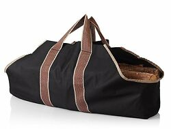 Fire Wood Tote Bag Carry Case Handles Outdoor Winter Fireplace Heavy Duty Black