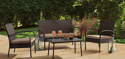Outdoor Patio Furniture Chair Table Wicker Chat Set Woven Design 4 Piece Brown