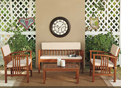 Outdoor Patio Furniture Chair Table Chat Set Deep Seating Design 4 Piece Acacia