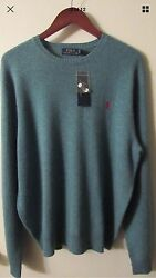 $325 Polo Ralph Lauren Men's L Turquoise Italian Yarn Cashmere Crewneck Sweater!
