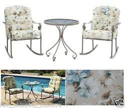 3 PC Patio Bistro Set Outdoor Furniture Rocking Chairs with Cushions Round Table