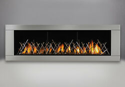Napoleon LHD62 Gas Fireplace w Stainless Surround & Nickel Stix As Pictured