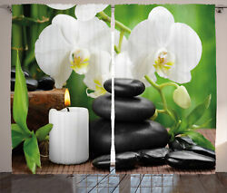 Spa Curtains Orchids Zen Stones Nature Window Drapes 2 Panel Set 108x84 Inches
