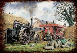 steam threshing traction vintage retro signs repro wall art GBP 5.00
