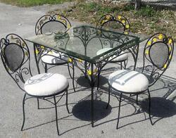 MID-CENTURY TABLE & 4 CHAIRS OUTDOOR DINING PATIO SET
