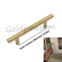 Gold 96mm Kitchen Cabinet Handles Brushed Brass 3-34inch Drawer Cupboard Pulls