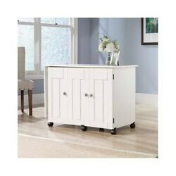 Art Table With Storage Sewing Crafts Supplies Rolling Workstation White Gift