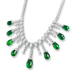 Natural 153.43 ct SPECTACULAR EMERALD DROP   DIAMOND NECKLACE WITH  18K WGIA