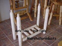 Rustic cedar unassembled DYI sofa table log leg kit for the furniture builder