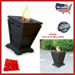 Patio Fire Pit Outdoor Gas Propane Burner Table Top Decor Small Heater Glass LP