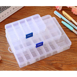 10 15 24 Compartments Clear Plastic Storage Box Screw Jewelry Bead Container