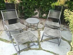 Kipp Stewart Mid Century Patio Lounge Chairs-Ottomans