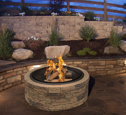Patio Fire Pit Outdoor Wood Burning Stone Round Backyard Deck Accessories
