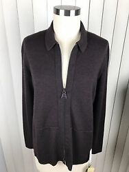 Akris Women's Cashmere Silk Blend Zip Up Cardigan Sweater Sz 12 NWT $1390
